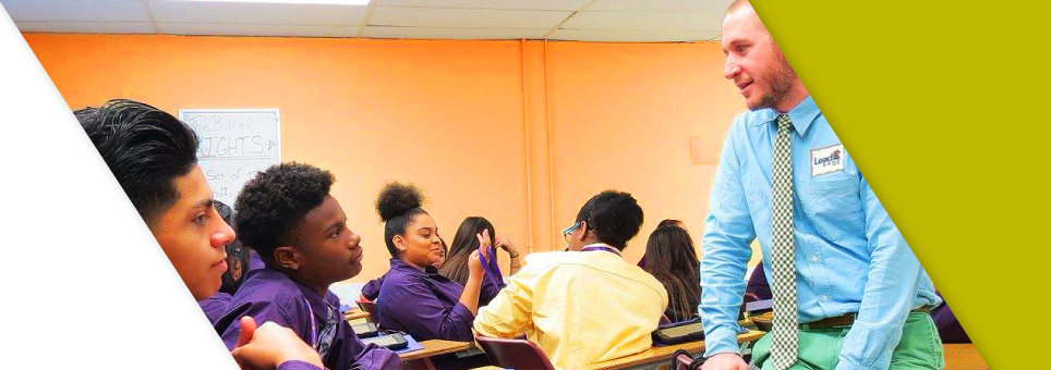 A Lead Bank banker at an inner city high school teaching kids the importance of finance