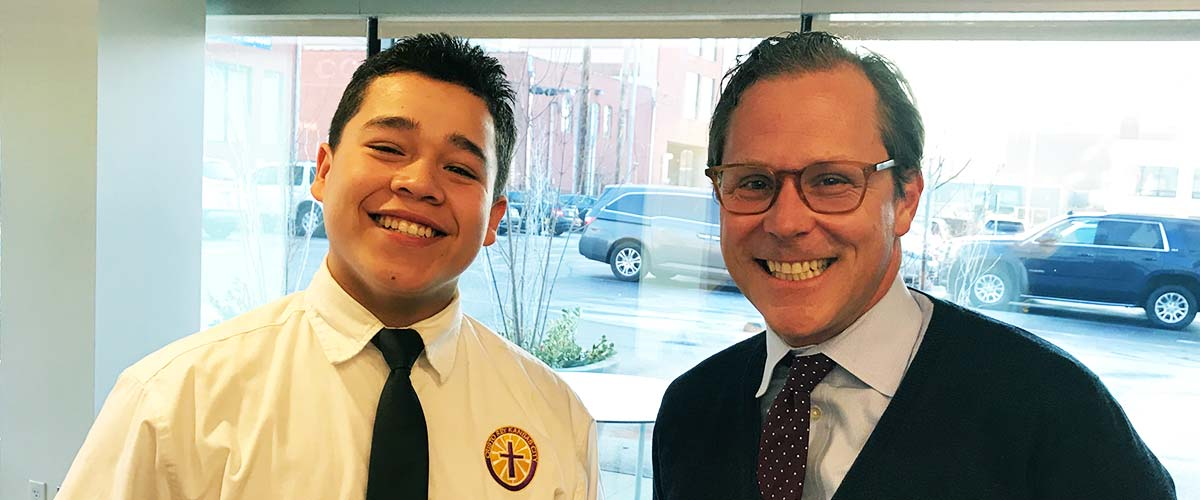 Lead Bank CEO Josh Rowland and a Cristo Rey student