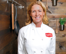 The owner of Happy Food Co, a Lead Bank Kansas City community client