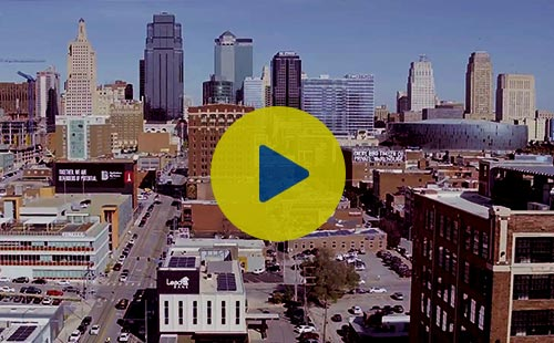 Kansas City skyline with Lead Bank, also a link to the video.